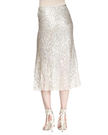 Sequined Bias-Cut Midi Skirt, Beige