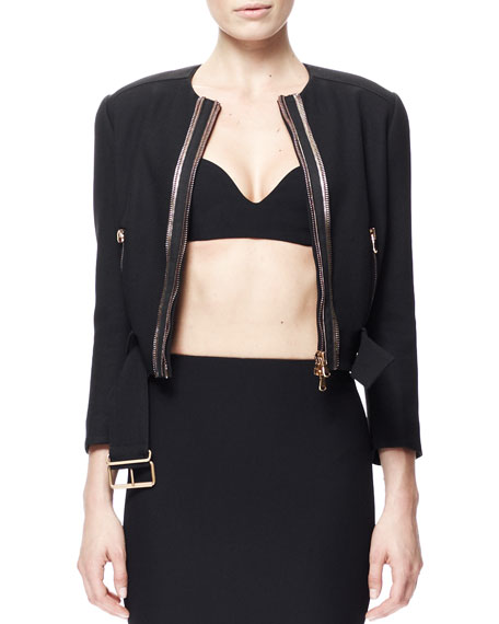 Golden-Zip Belted Crepe Biker Jacket