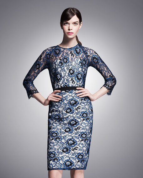 3/4-Sleeve Belted Lace Dress