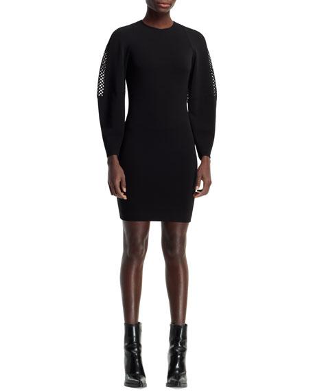 Basketweave-Sleeve Dress, Black
