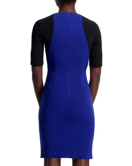Anita Contour Colorblock Sheath Dress, Blue/Black