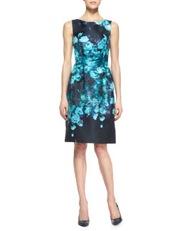 Lela Rose Sleeveless Floral Sheath Dress, Black/Mint