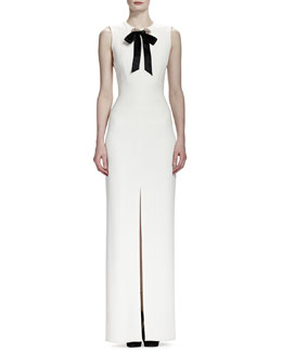 Alexander McQueen Crepe Crystal-Grommet Sleeveless Gown