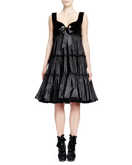 Alexander McQueen Velvet-Top & Taffeta-Skirt Dress