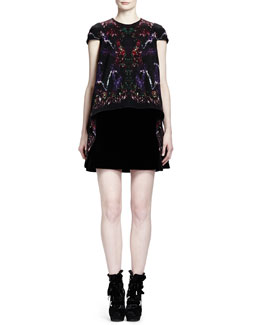 Alexander McQueen Feather-Print Wool & Velvet Cap-Sleeve Dress