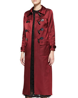 Adam Lippes Sateen Duffle Coat with Toggle Front, Oxblood
