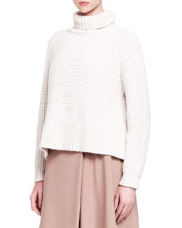 Brunello Cucinelli Ribbed Paillette Cylinder Cashmere Turtleneck
