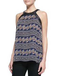 Tamara Mellon Printed Top with Leather Trim, Navy