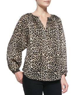 Tamara Mellon Leopard Printed Peasant Blouse