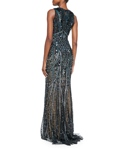 Honeycomb Beaded Sheer Side Gown, Black/Cobalt