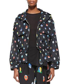 Hooded Superhero-Print Wind Jacket, Black