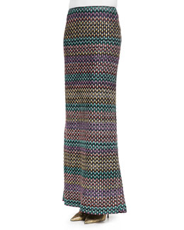 Textured Pull-On Maxi Skirt