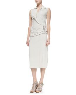 Sleeveless Back-Drape Dress, Chalk