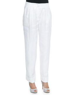 Linen Wide-Leg Cuffed Pants