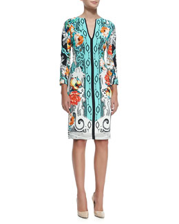 Dhely 3/4-Sleeve Printed Sheath Dress