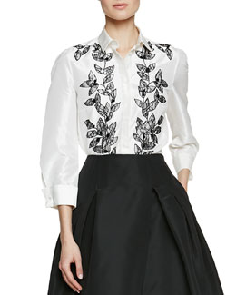 Flower Petal-Embroidered Blouse, Ivory