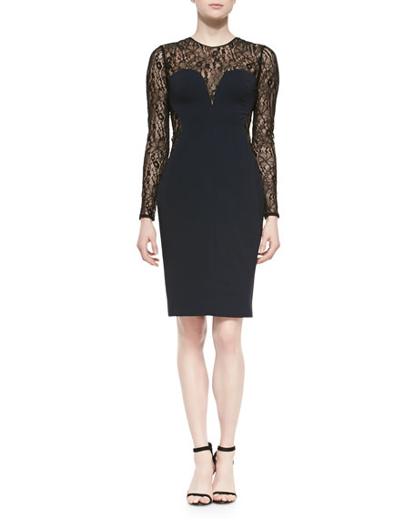Long-Sleeve Lace & Jersey Cocktail Dress