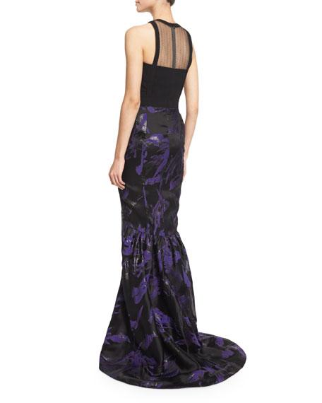 Floral Halter-Neck Mermaid Gown