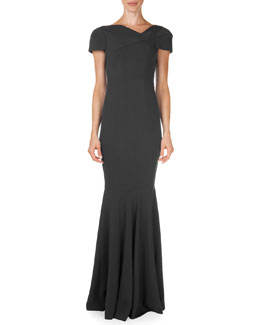 Otley Short-Sleeve Asymmetric V-Neck Gown