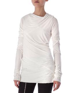 Long-Sleeve Draped Knit Top