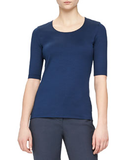 Jewel-Neck Double-Layered Top, Azurite
