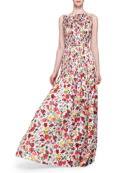 Floral-Print Silk Gown, Red/Multi