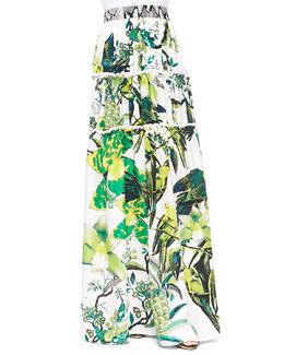 St. Barth-Print Tiered Full Skirt, Verde Lime