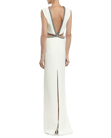 White Silk Cady Gown with Crystal Tube Embroidery