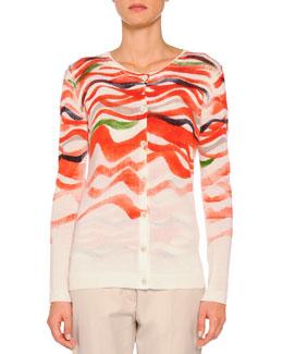 Cashmere-Blend Wave-Print Cardigan, Orange Multi