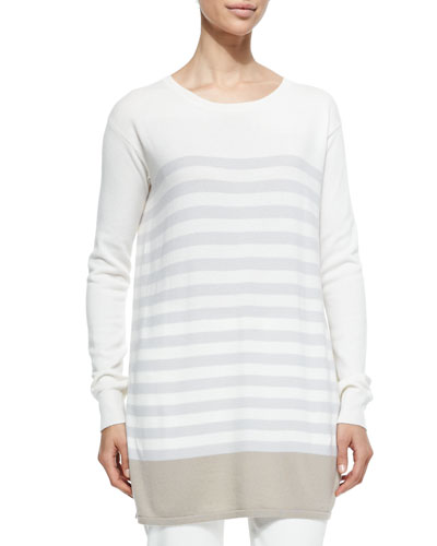 Cashmere Knit Colorblock Striped Tunic, Crystal Sand