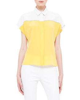 Cap-Sleeve Colorblock Hemstitch Blouse