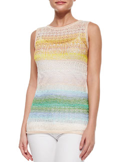Ombre Striped Crochet Tank Top