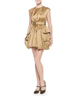 Belted Satin Mini Bubble Dress, Gold