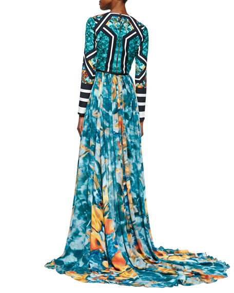 Mixed-Print Long-Sleeve High-Low Gown