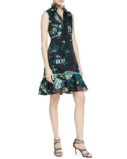 Sleeveless Floral Print Dress with Tulle Trim