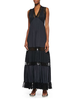 Fishnet Lace-Inset Tiered Dress, Black