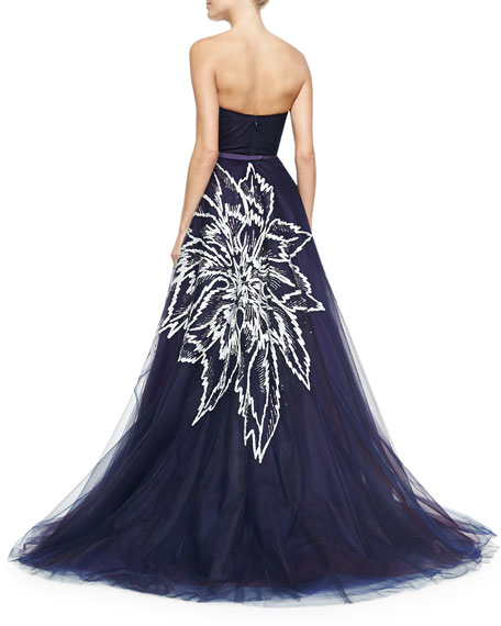 Strapless Floral-Embroidered Tulle Ball Gown, Navy