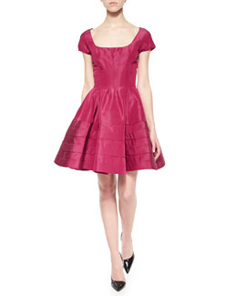 Flounce-Skirt Taffeta Dress, Magenta