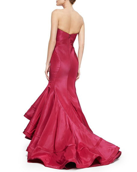 Strapless Taffeta Mermaid Gown, Sangria