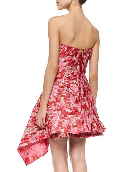 Strapless Asymmetric Paintbrush Dress