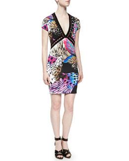 Open-Weave Nemo-Print Dress, Pink/Black