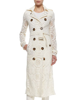 Double-Breasted Lace English Trenchcoat, Parchment
