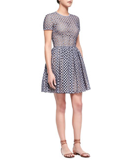 Lattice Gingham Fit-and-Flare Dress, Indigo/White