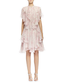 Floral-Print Angled Multi-Layered Ruffle Dress, Silver/Pink