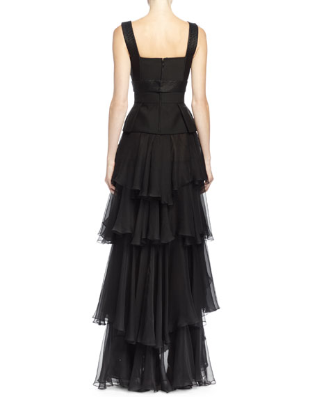 Jacquard-Inset Ruffle-Tiered Gown, Black