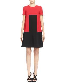 Rectangle-Designed Colorblock Shift Dress, Red/Black