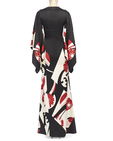 Abstract Floral-Print Kimono Gown, Black Mix