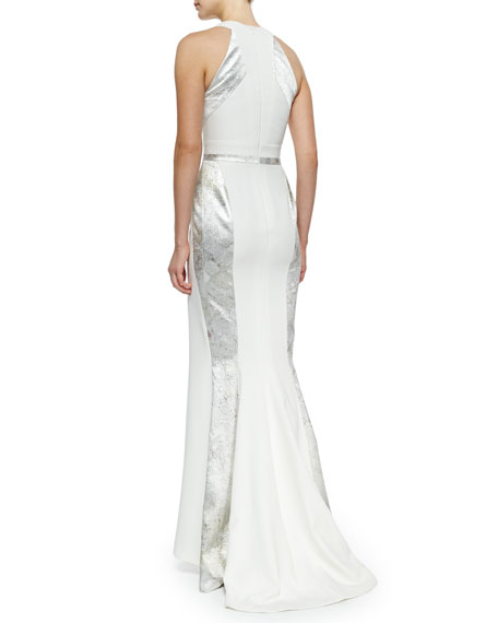 Silk V-Neck Paneled Gown, Aluminum/Ivoire