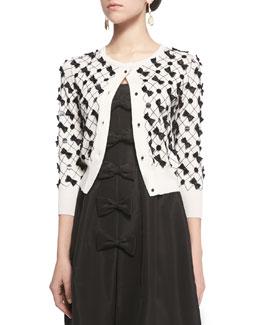 Bow-Embellished Lattice Crop Cardigan, White/Black