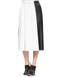 Bicolor Paper Leather Midi Skirt